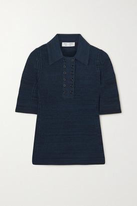 Proenza Schouler White Label Melange Silk-blend Polo Shirt - Navy