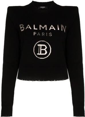 Balmain Logo Print Knitted Jumper