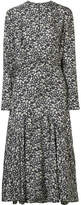 Calvin Klein Floral-print Silk-twill Midi Dress - Black