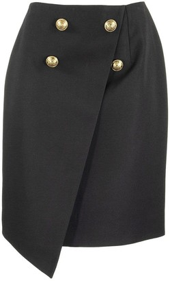 Balmain Asymmetrical black wool wraparound skirt with gold-tone buttons