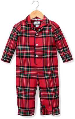 Petite Plume Imperial Tartan Plaid Pajama Coverall, Size 0-24 Months