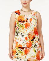 Kasper Plus Size Floral-Print Scuba Top