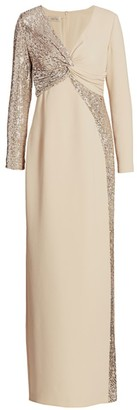 Teri Jon By Rickie Freeman Long-Sleeve Sequin Front-Twist Gown