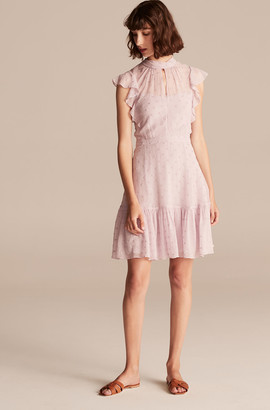 Rebecca Taylor Polished Dot Embroidery Keyhole Dress