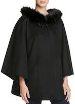 Sofia Cashmere Fur Trim Capelet