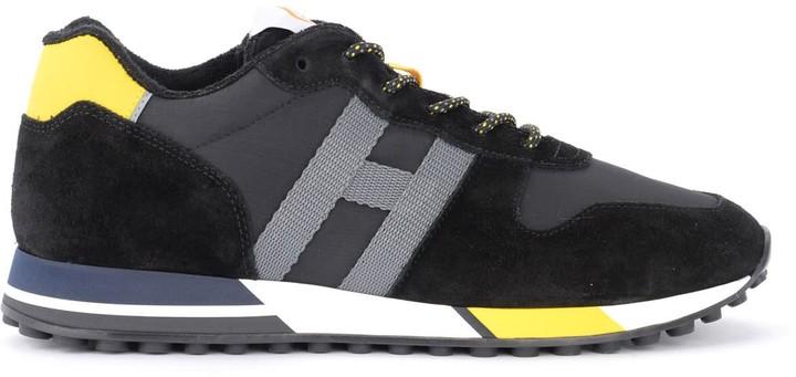 Hogan Sneaker H383 In Suede Nero Con Dettagli Grigi E Gialli ...