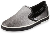Jimmy Choo Grove Men's Glittered Slip-On Sneaker, Black/Silver