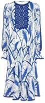 Andrew Gn Silk Feather Print Midi Dress