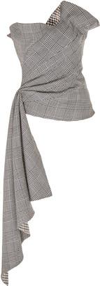 Oscar de la Renta Check-Patterned Strapless Silk Blouse