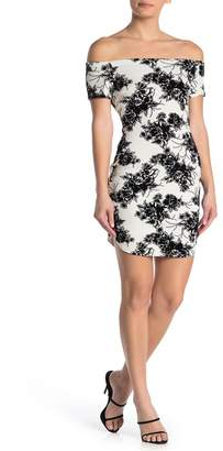 BAILEY BLUE Off-the-Shoulder Floral Flocked Bodycon Dress