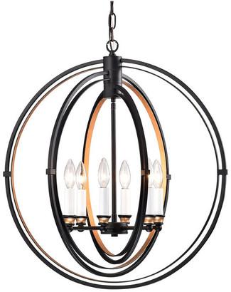 Edvivi Lighting 6-Light Black Bronze Triple Hoop Globe Chandelier