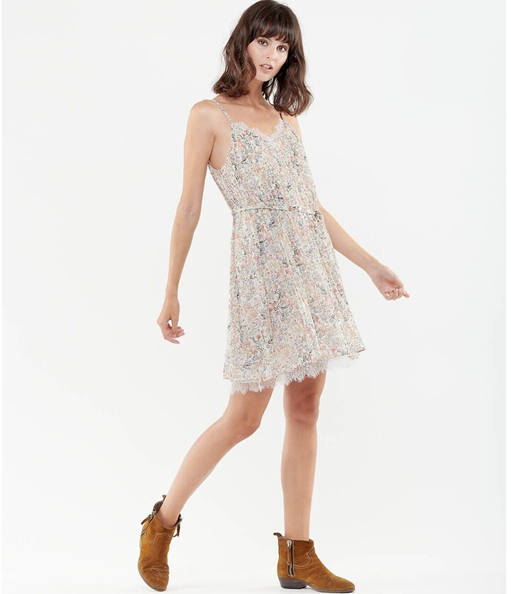 Thumbnail for your product : Le Temps Des Cerises Printed Mini Dress with Tie-Waist and Shoestring Straps