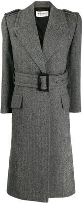 Saint Laurent Oversized Belted Herringbone Coat