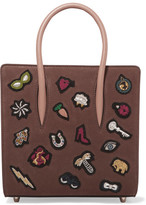 Christian Louboutin Paloma Small Embellished Textured-leather Tote - Brown