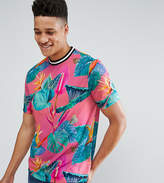 Asos Tall Relaxed T-Shirt With All Over Floral Print And Tipped Neck Trim
