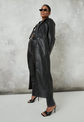 Missguided Black Faux Leather Seam Detail Maxi Coat