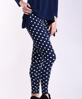 Lbisse Women's Leggings Navy - Navy & Ivory Polka Dot Leggings - Women & Plus