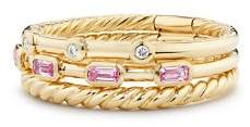 David Yurman Novella Three-Row Ring in Pink Sapphire with Diamonds