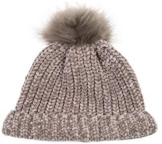 Glitzhome Sugar Soft Chenille Hat Beanie with Faux-Fur Pom Pom