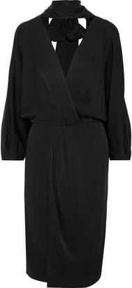 Diane von Furstenberg Wrap-effect Pleated Satin-crepe Dress