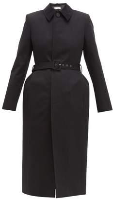 Balenciaga Single Breasted Hourglass Cotton Twill Trench Coat - Womens - Black