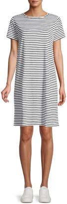 Eileen Fisher Organic Linen Jersey Striped T-Shirt Dress