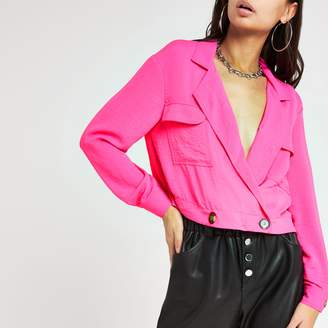 River Island Womens Bright Pink cropped shacket