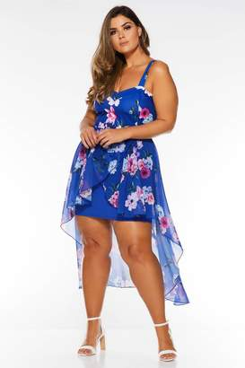 Quiz Curve Royal Blue Chiffon Dip Hem Dress