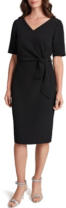 Tahari Elbow Sleeve Side Tie Sheath Dress