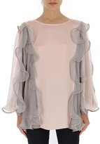 Alberta Ferretti Ruffled Two-Tone Blouse