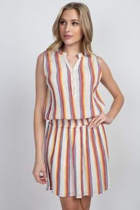 En Creme Colorful Stripes Dress