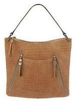 B. Makowsky As Is Croco Embossed Leather Hobo Bag