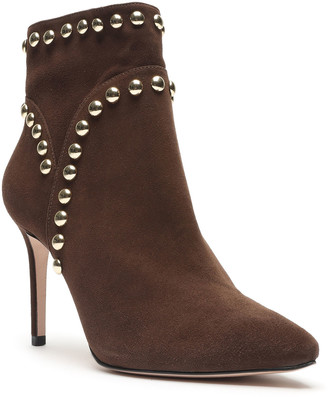 Schutz Lilly Studded Suede Stiletto Ankle Booties