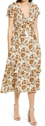 Faherty Brand Bonita Floral Short Sleeve Cotton Blend Dress