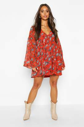 boohoo Plunge Extreme Sleeve Smock Dress