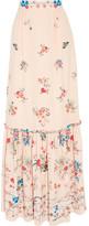 Vilshenko Lily Floral-print Silk Crepe De Chine Maxi Skirt - Ecru