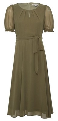 Dorothy Perkins Womens **Billie & Blossom Khaki Keyhole Puff Midi Dress, Khaki