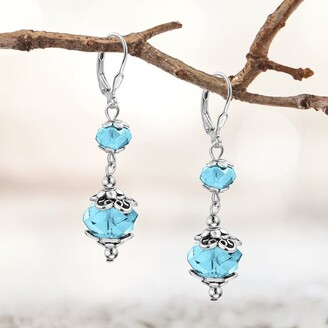Besheek Silvertone Stainless Steel Aqua AB Crystal Leverback Dangle Earrings