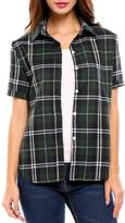 Meaneor Women Plaid Pattern Button Down Shirts Red&White Loose Short Sleeve Shirts