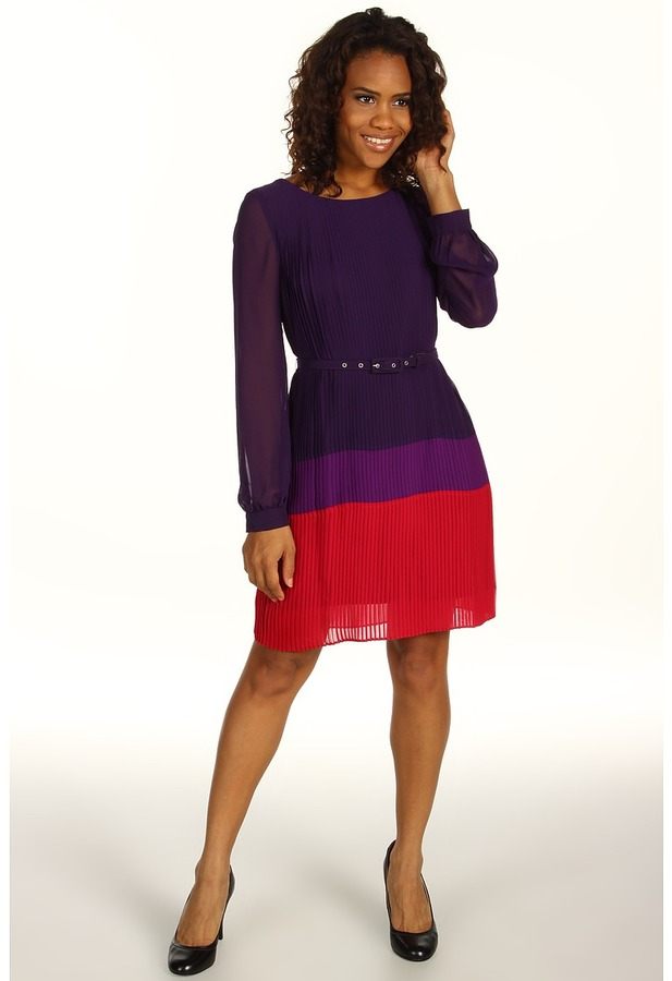 Jessica Howard 1 Piece Long Sleeve Belted Colorblock Pleat Dress (Plum) - Apparel