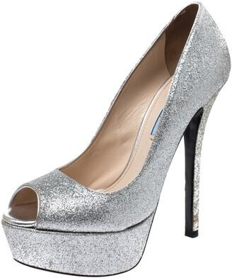 Prada Silver Glitter Fabric Peep Toe Platform Pumps Size 38.5
