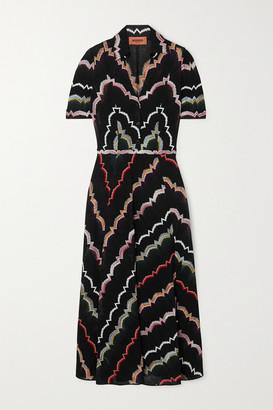 Missoni Crochet-knit Cotton-blend Midi Dress - Black