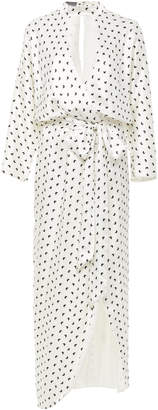 Monique Lhuillier Butterfly Printed Satin Faux Wrap Dress Size: 8
