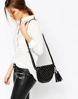 Warehouse Leather Studded Saddle Bag