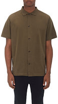 Margaret Howell MEN'S COTTON BUTTON-FRONT POLO SHIRT-GREEN SIZE L