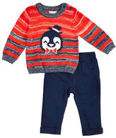 Petit Lem Baby Boys Holiday Two-Piece Striped Sweater and Pants Set