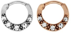 Rhona Sutton Bodifine Stainless Steel Set of 2 Colors Multi Crystal Cartilage Rings