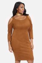 Fashion to Figure Sundance Cold Shoulder Faux Suede Dress