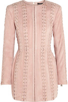 Balmain Lace-up Suede Mini Dress - Pastel pink