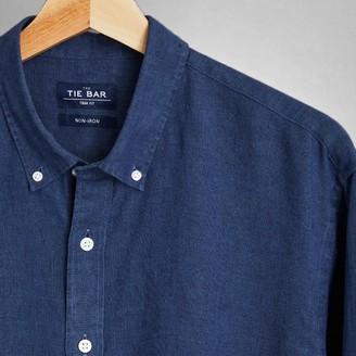 Tie Bar Linen Dark Navy Non-Iron Casual Shirt
